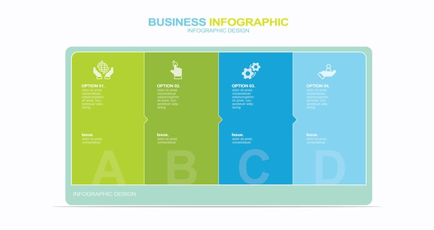 Plansza projekt z ikonami i 4 opcjami lub krokami cienka linia wektor infografiki koncepcja biznesowa