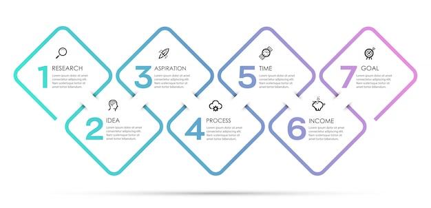 Plansza projekt z ikonami i 7 opcji lub kroków. infografiki dla koncepcji biznesowej.