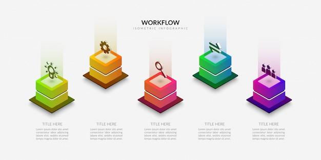 Plansza przepływu pracy izometryczny, kolorowe elementy graficzne procesu biznesowego