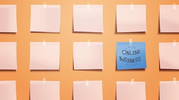 Plansza przypomnienia biznes online napisany na karteczce