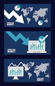 Plansza recesji gospodarczej z laptopa i komputera stacjonarnego