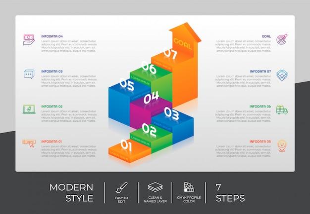 Plansza schodowa 3d z 7 krokami i kolorowym stylem do celów prezentacji. infografika opcji schodów