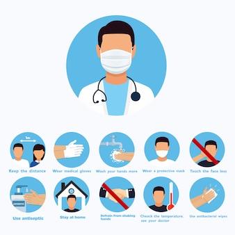 Plansza środek zapobiegania koronawirusa