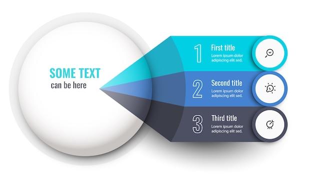 Plansza szablon projektu etykiety z ikonami i 3 opcjami lub krokami.