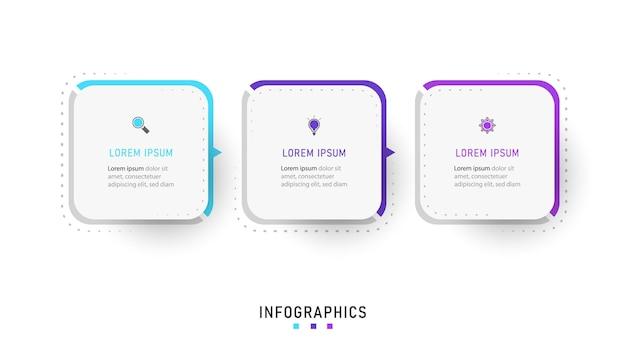 Plansza szablon projektu etykiety z ikonami i 3 opcjami lub krokami