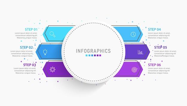 Plansza szablon projektu etykiety z ikonami i 6 opcjami lub krokami.