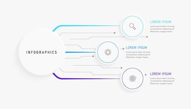 Plansza szablon projektu z ikonami i 3 opcjami lub krokami.