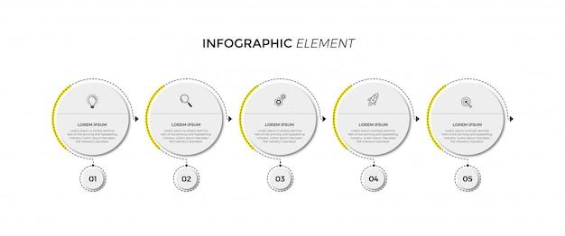 Plansza szablon projektu z ikonami i 5 opcjami