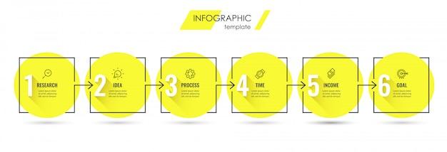 Plansza szablon projektu z ikonami i 6 opcjami lub krokami.