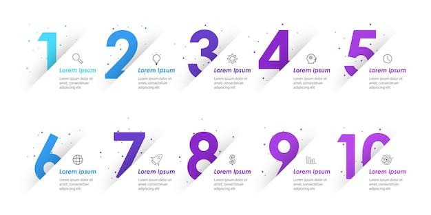 Plansza szablon projektu z ikonami i opcjami lub krokami