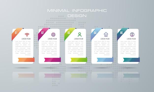 Plansza szablon z 5 opcji, przepływu pracy, wykres procesu, projekt infografiki osi czasu