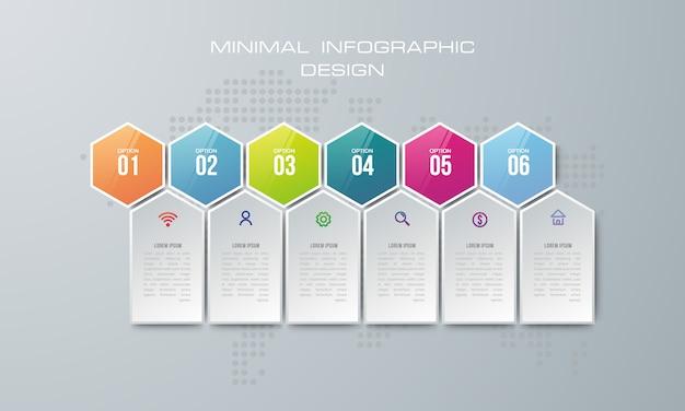 Plansza szablon z 6 opcji, przepływu pracy, wykres procesu, projekt infografiki osi czasu