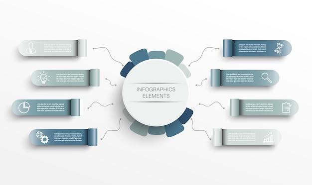 Plansza szablon z etykietą papierową 3d, zintegrowane kółka. koncepcja biznesowa z 8 opcjami. treść, diagram, schemat blokowy, kroki, części, infografiki osi czasu, przepływ pracy, wykres.