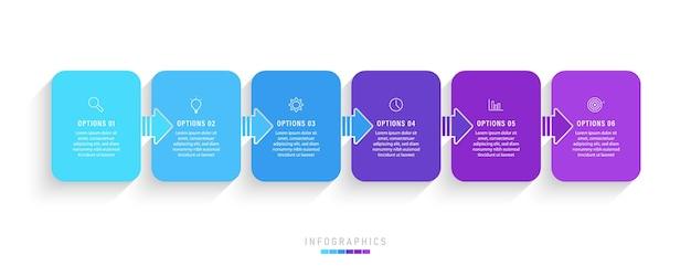 Plansza szablon z ikonami i 6 opcjami lub krokami.
