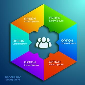 Plansza szablon z kolorowym sześciokątnym biznesowym diagramem sześć opcji i ikona zespołu