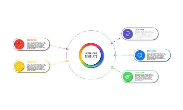Plansza szablon z pięciu okrągłych elementów na białym tle. nowoczesna wizualizacja procesów biznesowych z ikonami marketingu cienkich linii. ilustracja łatwa do edycji i dostosowania.