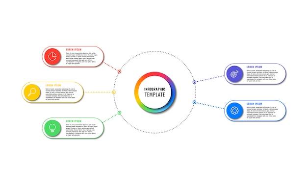 Plansza szablon z pięciu okrągłych elementów na białym tle. nowoczesna wizualizacja procesów biznesowych z ikonami marketingu cienkich linii. łatwe do edycji i dostosowywania.