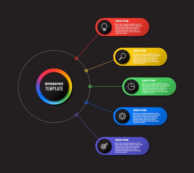 Plansza szablon z pięciu okrągłych elementów na czarnym tle. nowoczesna wizualizacja procesów biznesowych z ikonami marketingu cienkich linii. łatwe do edycji i dostosowywania.