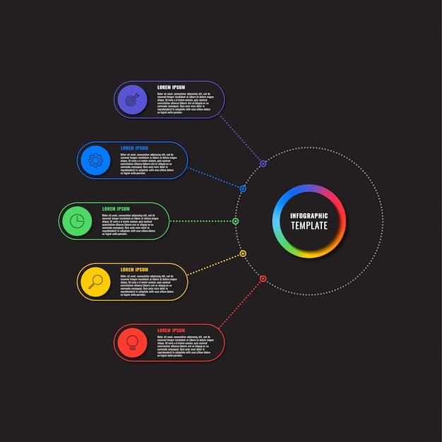 Plansza szablon z pięciu okrągłych elementów na czarnym tle. nowoczesna wizualizacja procesów biznesowych z ikonami marketingu cienkich linii.