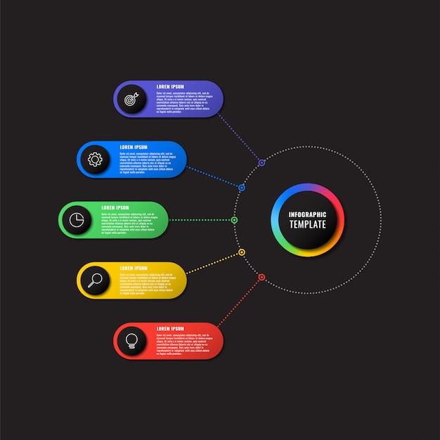 Plansza szablon z pięciu okrągłych elementów na czarnym tle. nowoczesna wizualizacja strategii biznesowej z ikonami marketingu cienkiej linii. ilustracja łatwa do edycji i dostosowania.