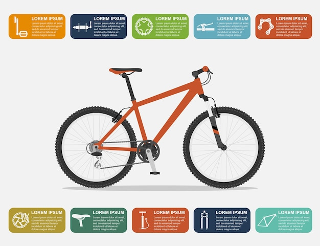 Plansza szablon z rowerem górskim i ikonami, ilustracja styl