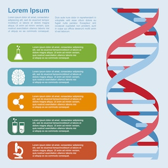 Plansza szablon ze strukturą dna i ikonami, koncepcją badań, rozwoju, nauki i biotechnologii