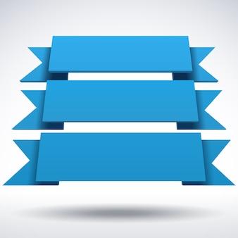 Plansza wektor 3d niebieskie wstążki