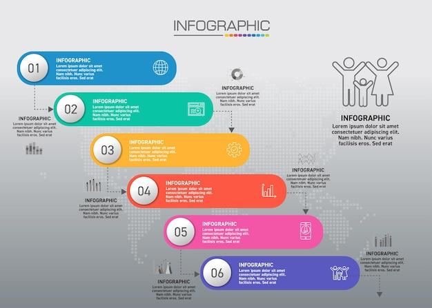 Plansza Wykres Z Koncepcją Biznesową, 6 Opcji Może Służyć Do Koncepcji Biznesowej Z 6 Krokami. Premium Wektorów