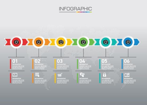 Plansza wykres z koncepcją biznesową, 6 opcji może służyć do koncepcji biznesowej z 6 krokami.