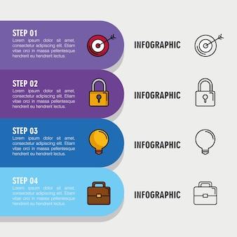 Plansza z czterema krokami z elementami biznesowymi