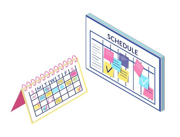 Planuj informacje o tablicy i kalendarzu na białym tle