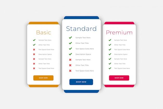 Plany i szablon strony internetowej tabeli cen