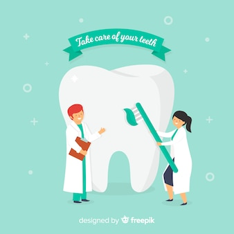 Płascy dentyści dbający o tło zęba