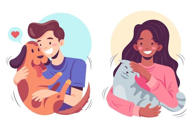 Płascy ilustracyjni ludzie ze zwierzętami