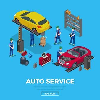 Płascy izometryczni pracownicy i sprzęt do naprawy samochodów ilustracja wektorowa izometria 3d