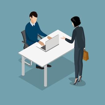 Płascy izometryczny ludzie pracujący w biurze ilustracji wektorowych