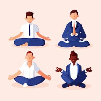 Płascy ludzie biznesu medytujący