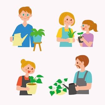 Płascy ludzie dbający o rośliny