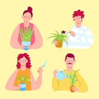 Płascy ludzie dbający o zestaw roślin