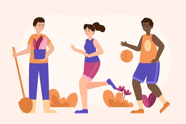 Płascy ludzie grający w koszykówkę