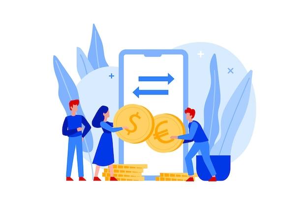 Płascy ludzie trzymający monety euro i dolary oraz kantor wymiany walut