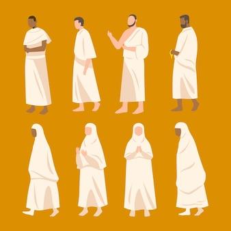 Płascy ludzie w pielgrzymce ilustracja hadżdż