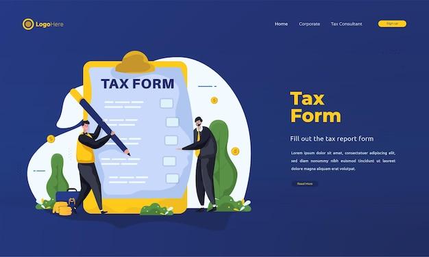 Płascy ludzie wypełniają stronę docelową formularza podatkowego
