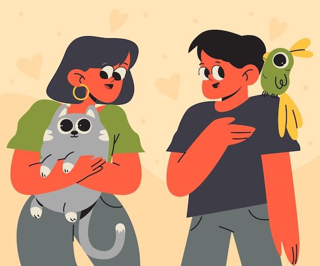 Płascy Ludzie Z Ilustracjami Zwierząt Domowych Darmowych Wektorów