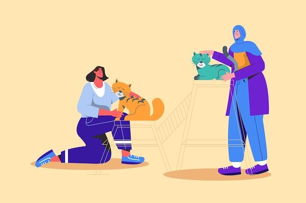 Płascy ludzie z ilustrowanymi zwierzętami