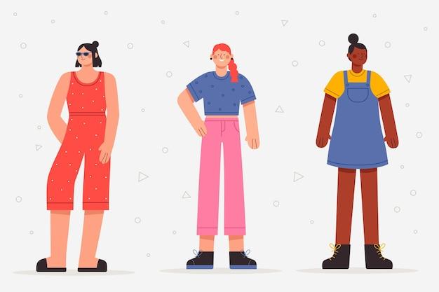 Płascy ludzie z letnią kolekcją ubrań