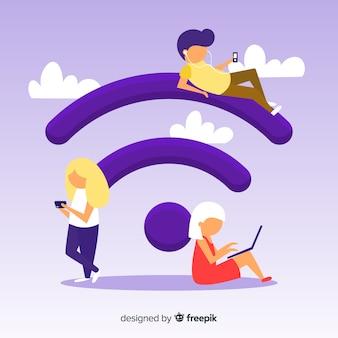 Płascy ludzie z tło znak wifi