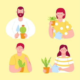 Płascy ludzie zajmujący się zbieraniem roślin
