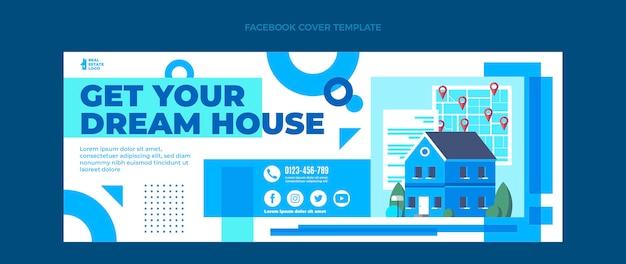 Płaska abstrakcyjna geometryczna okładka na facebooku nieruchomości