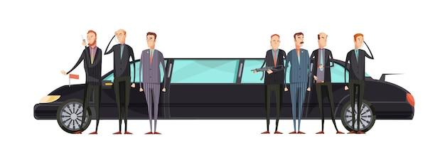 Płaska agencja wywiadowcza w kolorze z pracownikami służb specjalnych stoi w pobliżu ilustracji wektorowych samochodu pancernego